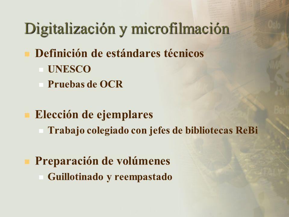 Digitalización y microfilmación