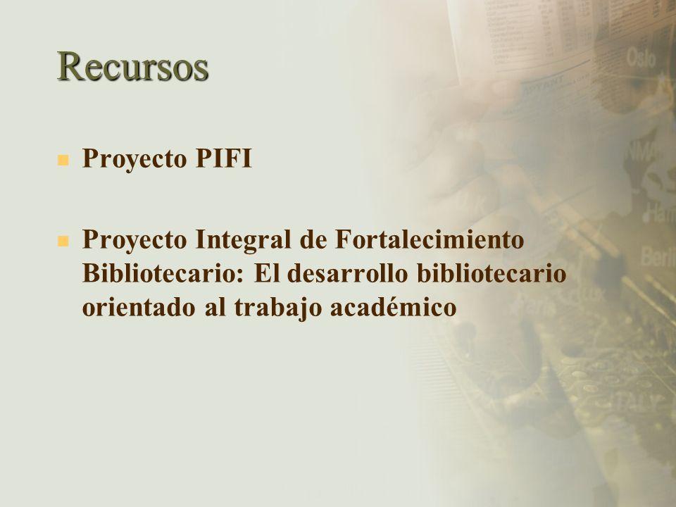 Recursos Proyecto PIFI