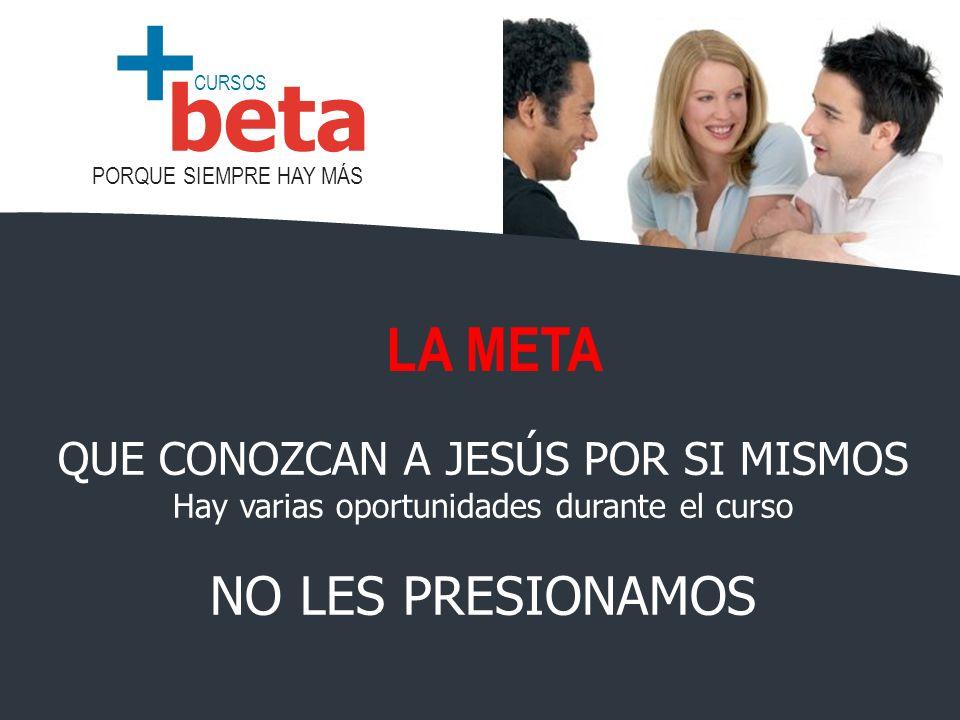 LA META NO LES PRESIONAMOS QUE CONOZCAN A JESÚS POR SI MISMOS