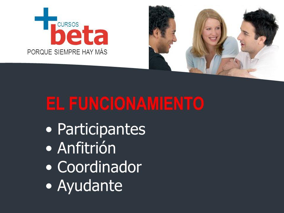 EL FUNCIONAMIENTO Participantes Anfitrión Coordinador Ayudante