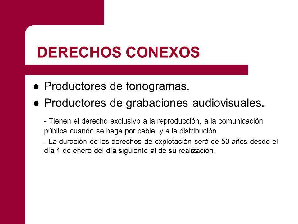DERECHOS CONEXOS Productores de fonogramas.