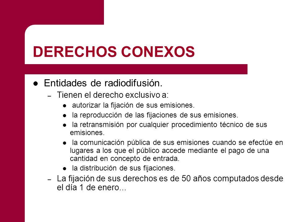 DERECHOS CONEXOS Entidades de radiodifusión.