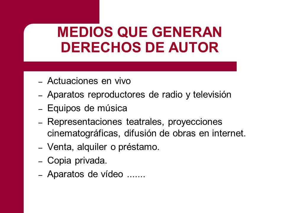 MEDIOS QUE GENERAN DERECHOS DE AUTOR