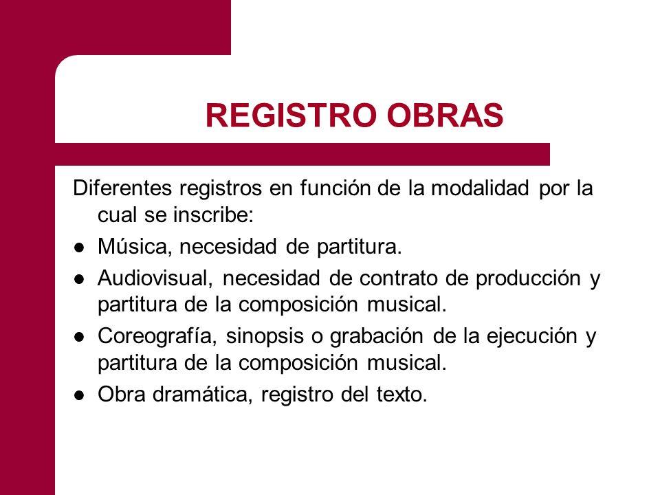 REGISTRO OBRAS Diferentes registros en función de la modalidad por la cual se inscribe: Música, necesidad de partitura.