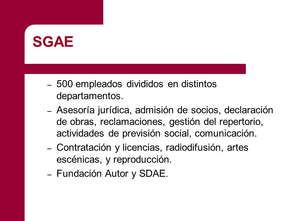 SGAE 500 empleados divididos en distintos departamentos.