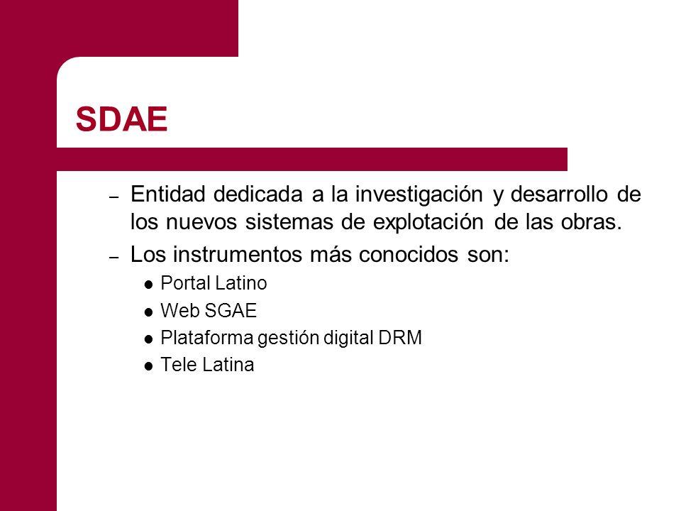 SDAE Entidad dedicada a la investigación y desarrollo de los nuevos sistemas de explotación de las obras.