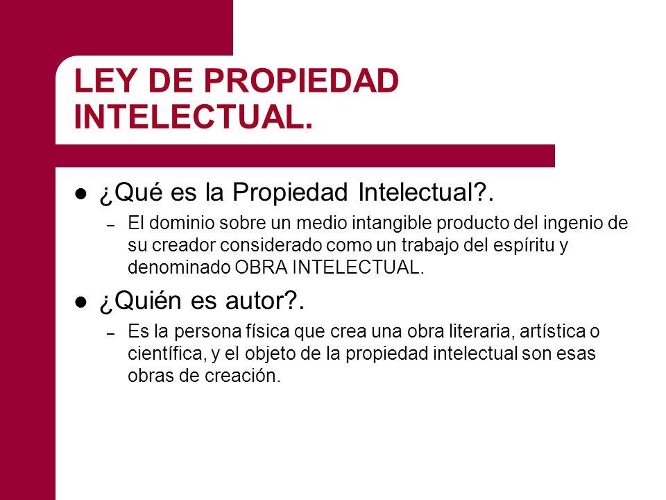 LEY DE PROPIEDAD INTELECTUAL.