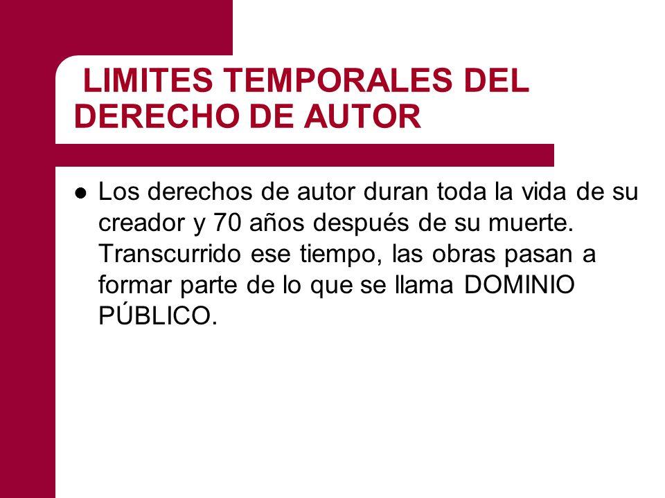 LIMITES TEMPORALES DEL DERECHO DE AUTOR