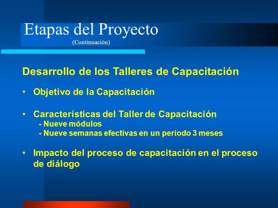 Etapas del Proyecto Desarrollo de los Talleres de Capacitación