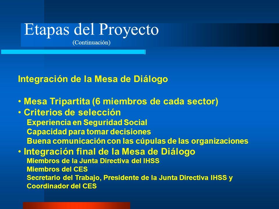 Etapas del Proyecto Integración de la Mesa de Diálogo