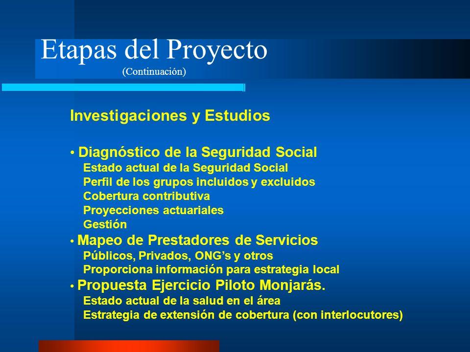 Etapas del Proyecto Investigaciones y Estudios