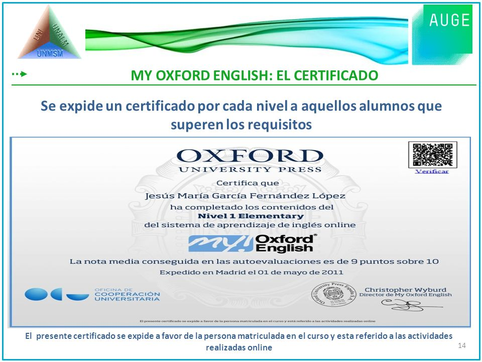 MY OXFORD ENGLISH: EL CERTIFICADO