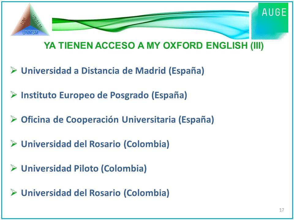 YA TIENEN ACCESO A MY OXFORD ENGLISH (III)