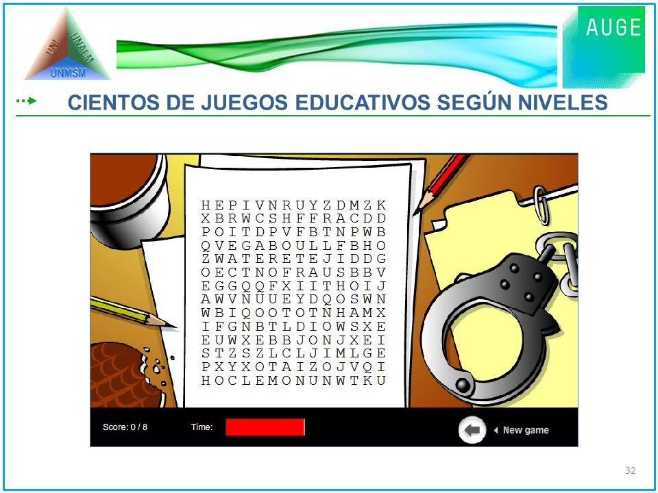 CIENTOS DE JUEGOS EDUCATIVOS SEGÚN NIVELES