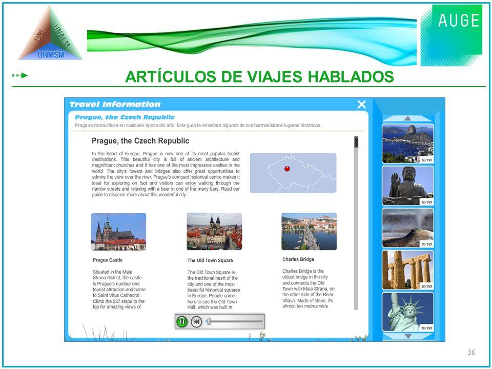 ARTÍCULOS DE VIAJES HABLADOS