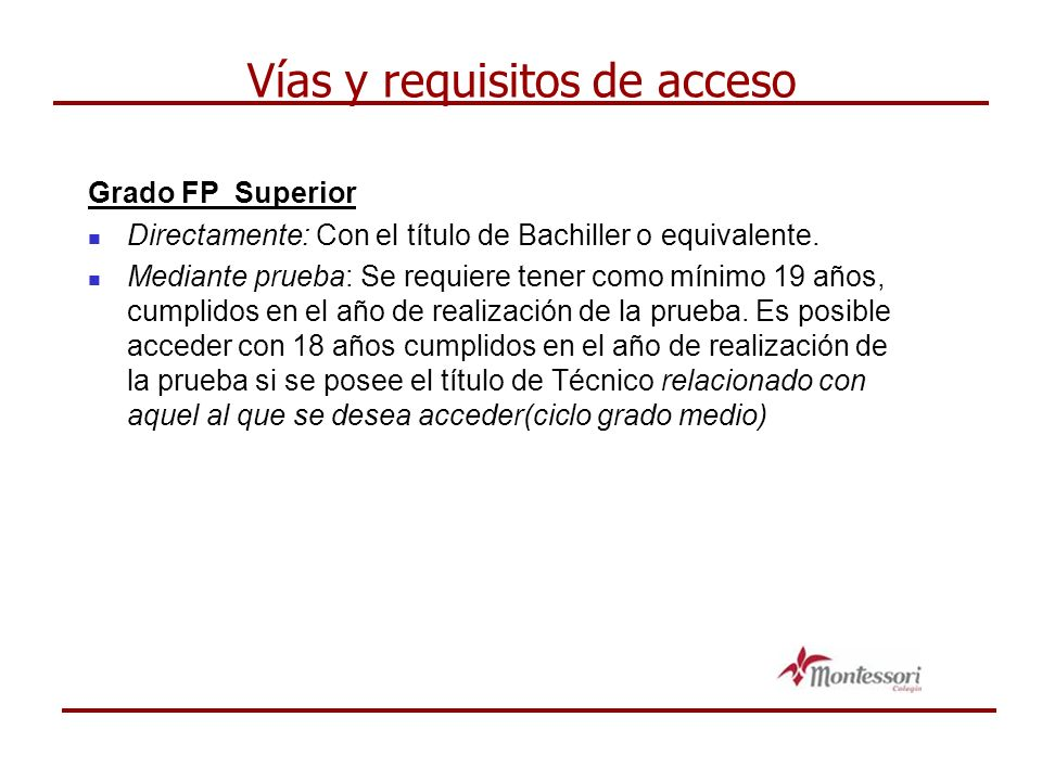 Vías y requisitos de acceso