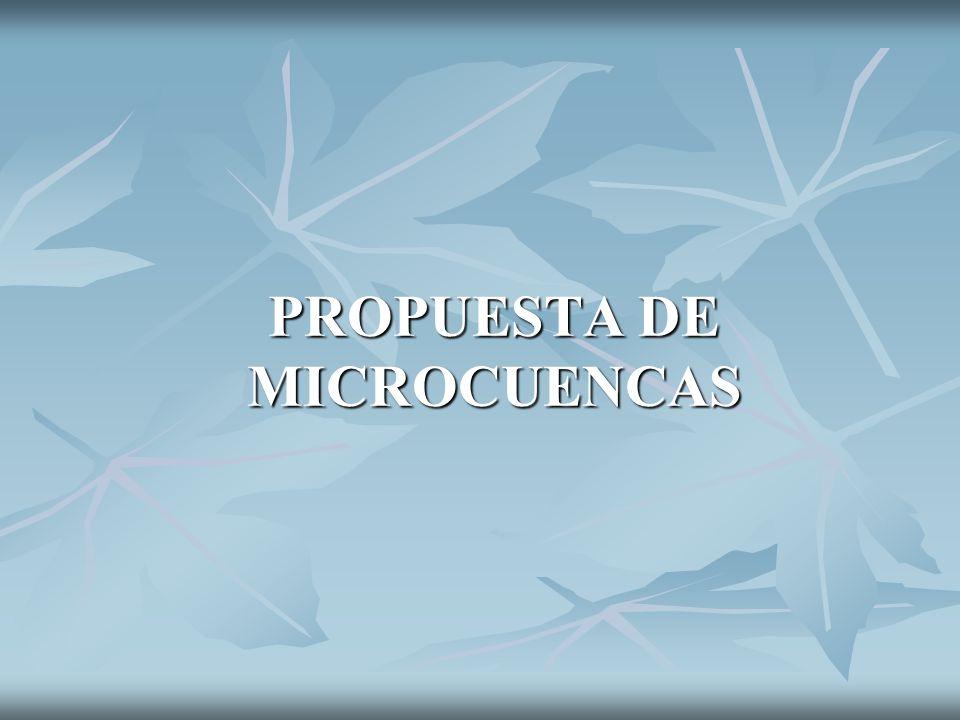 PROPUESTA DE MICROCUENCAS