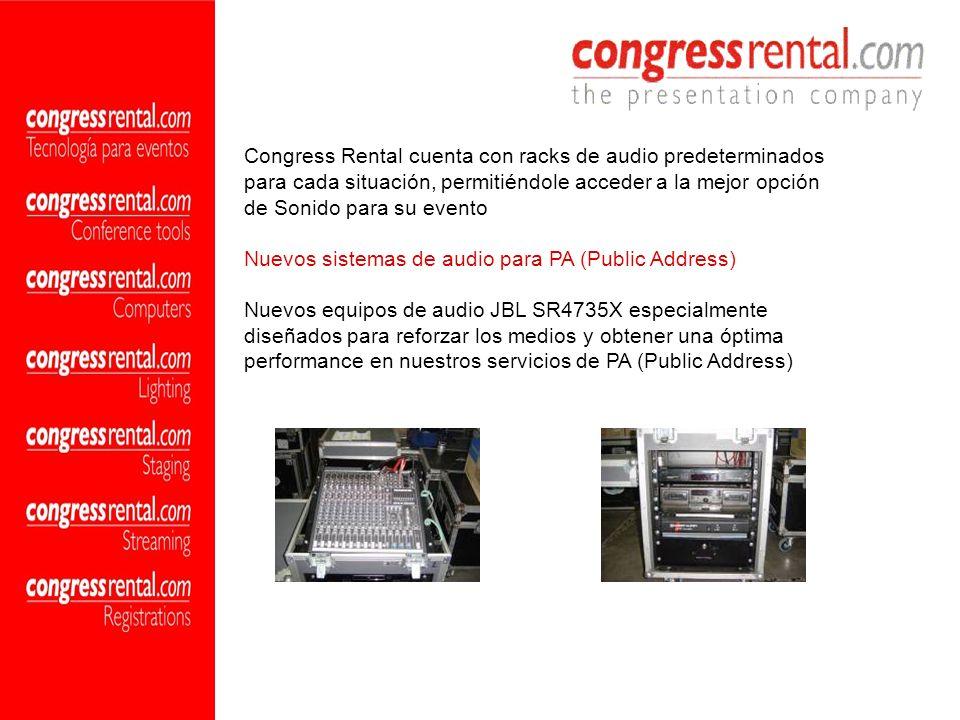 Congress Rental cuenta con racks de audio predeterminados para cada situación, permitiéndole acceder a la mejor opción de Sonido para su evento Nuevos sistemas de audio para PA (Public Address)