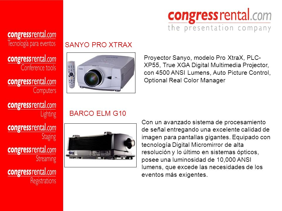 SANYO PRO XTRAX BARCO ELM G10