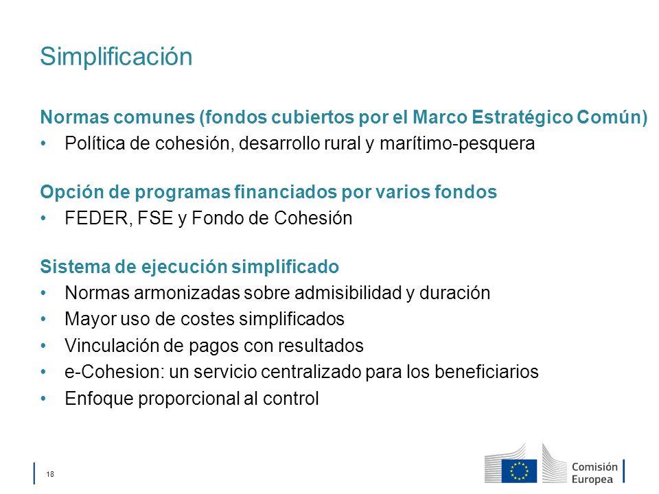 Simplificación Normas comunes (fondos cubiertos por el Marco Estratégico Común) Política de cohesión, desarrollo rural y marítimo-pesquera.