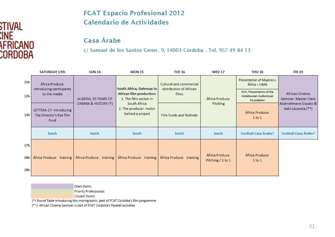 FCAT Espacio Profesional 2012 Calendario de Actividades Casa Árabe