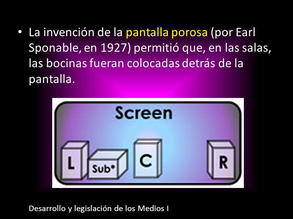 La invención de la pantalla porosa (por Earl Sponable, en 1927) permitió que, en las salas, las bocinas fueran colocadas detrás de la pantalla.