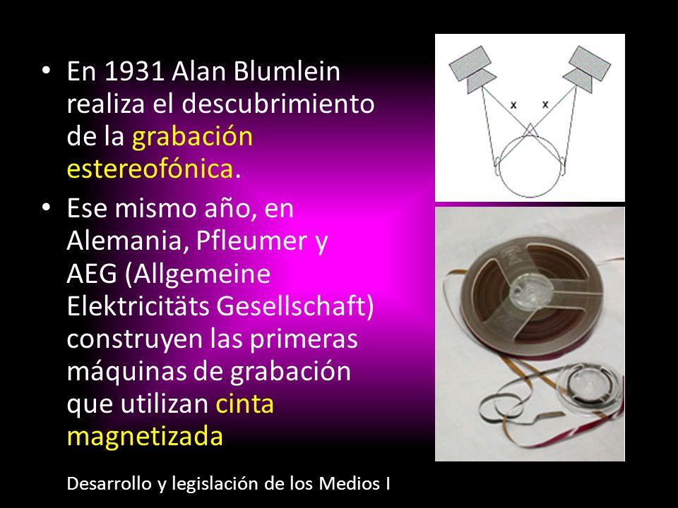 En 1931 Alan Blumlein realiza el descubrimiento de la grabación estereofónica.