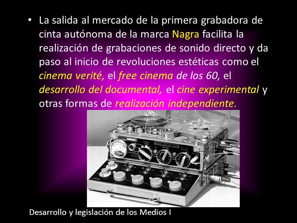 La salida al mercado de la primera grabadora de cinta autónoma de la marca Nagra facilita la realización de grabaciones de sonido directo y da paso al inicio de revoluciones estéticas como el cinema verité, el free cinema de los 60, el desarrollo del documental, el cine experimental y otras formas de realización independiente.