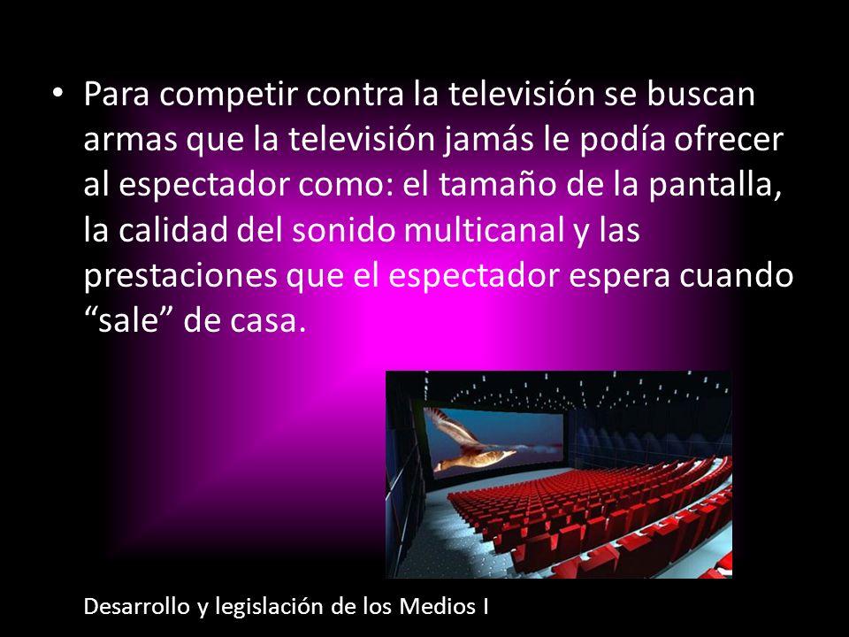 Para competir contra la televisión se buscan armas que la televisión jamás le podía ofrecer al espectador como: el tamaño de la pantalla, la calidad del sonido multicanal y las prestaciones que el espectador espera cuando sale de casa.