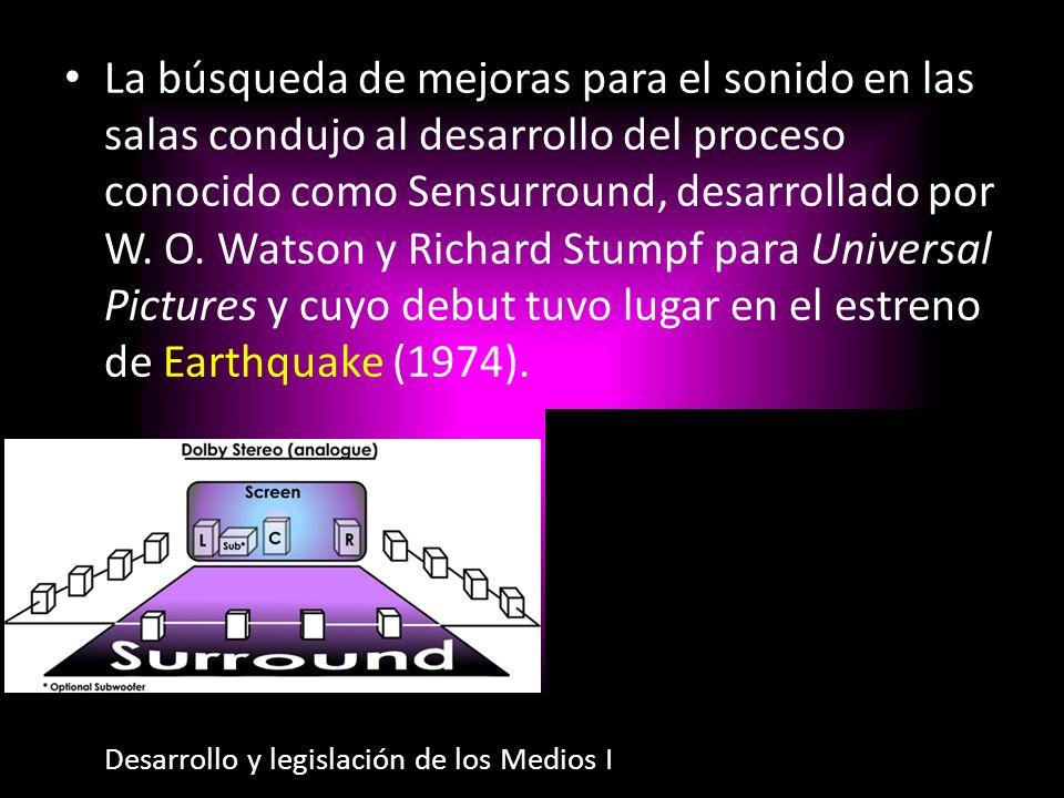 La búsqueda de mejoras para el sonido en las salas condujo al desarrollo del proceso conocido como Sensurround, desarrollado por W. O. Watson y Richard Stumpf para Universal Pictures y cuyo debut tuvo lugar en el estreno de Earthquake (1974).