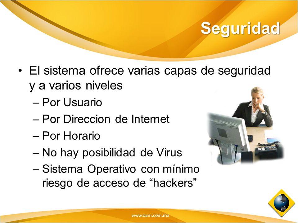 Seguridad El sistema ofrece varias capas de seguridad y a varios niveles. Por Usuario. Por Direccion de Internet.