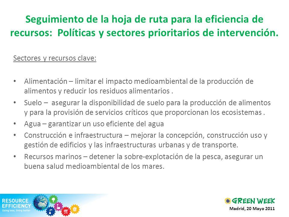 Seguimiento de la hoja de ruta para la eficiencia de recursos: Políticas y sectores prioritarios de intervención.