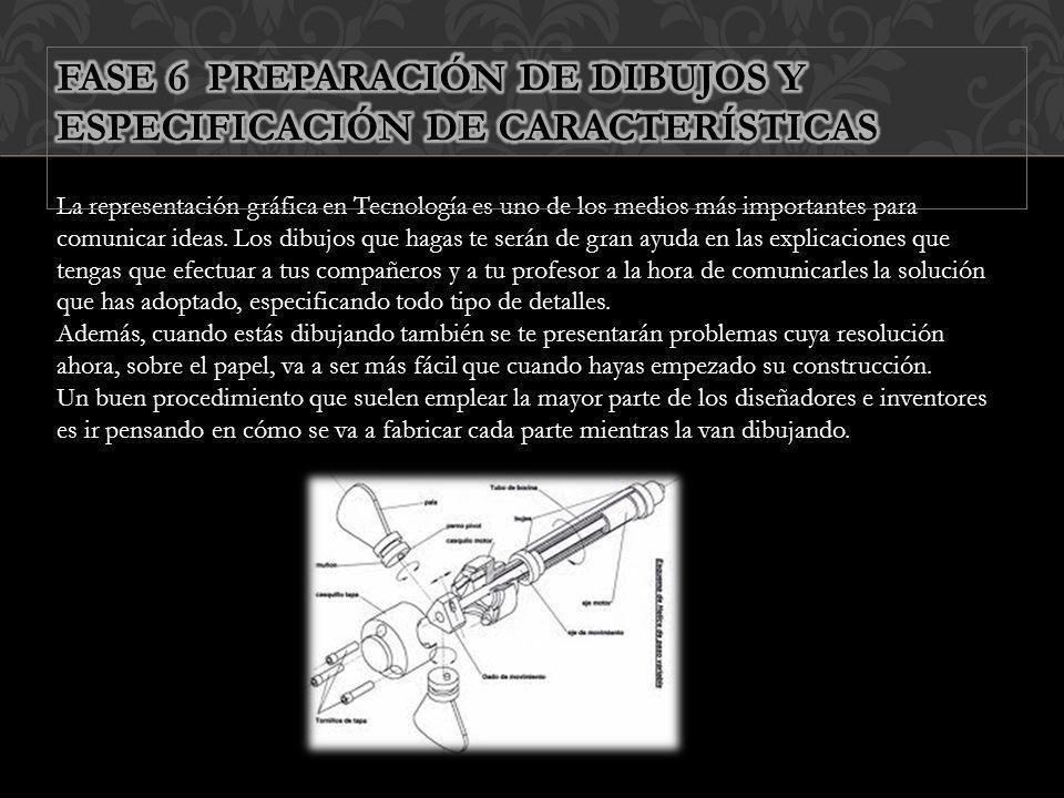 FASE 6 PREPARACIÓN DE DIBUJOS Y ESPECIFICACIÓN DE CARACTERÍSTICAS
