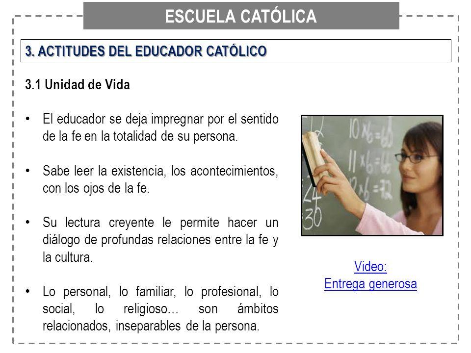 ESCUELA CATÓLICA 3. ACTITUDES DEL EDUCADOR CATÓLICO 3.1 Unidad de Vida
