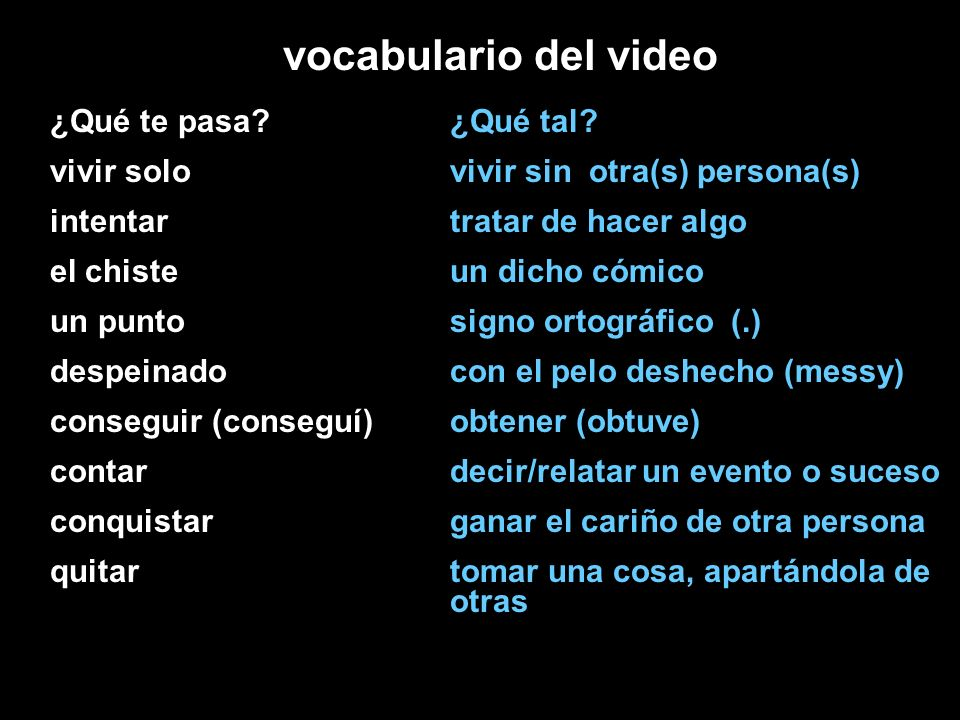 vocabulario del video ¿Qué te pasa vivir solo intentar el chiste