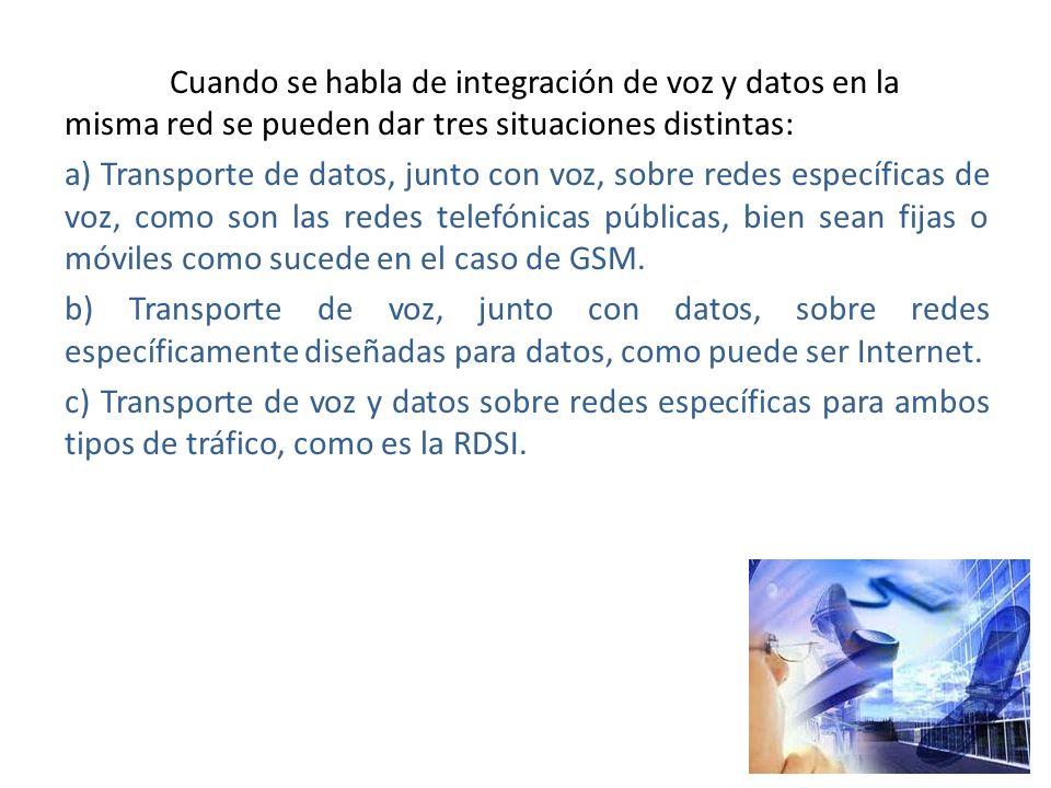 Cuando se habla de integración de voz y datos en la misma red se pueden dar tres situaciones distintas: a) Transporte de datos, junto con voz, sobre redes específicas de voz, como son las redes telefónicas públicas, bien sean fijas o móviles como sucede en el caso de GSM.