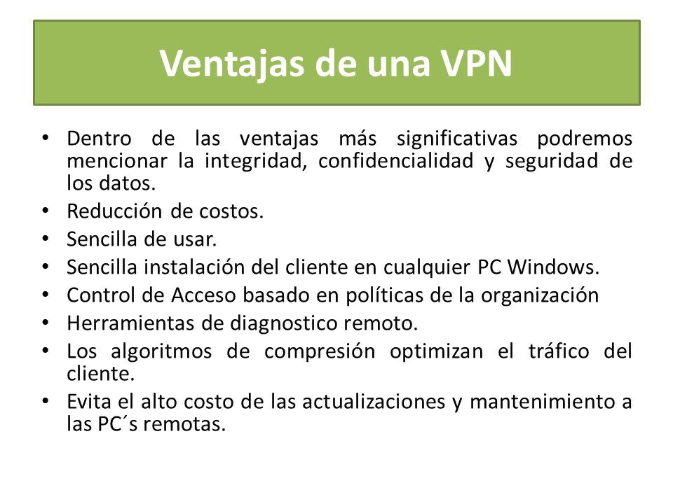 Ventajas de una VPN Dentro de las ventajas más significativas podremos mencionar la integridad, confidencialidad y seguridad de los datos.