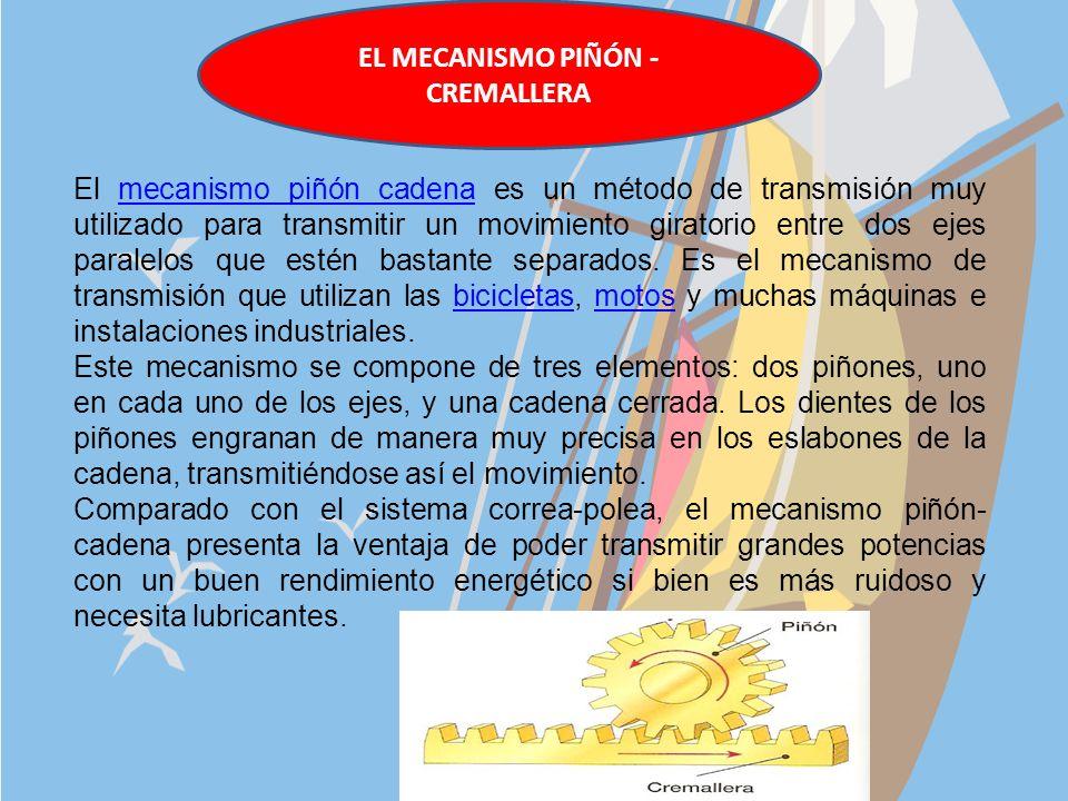 EL MECANISMO PIÑÓN - CREMALLERA