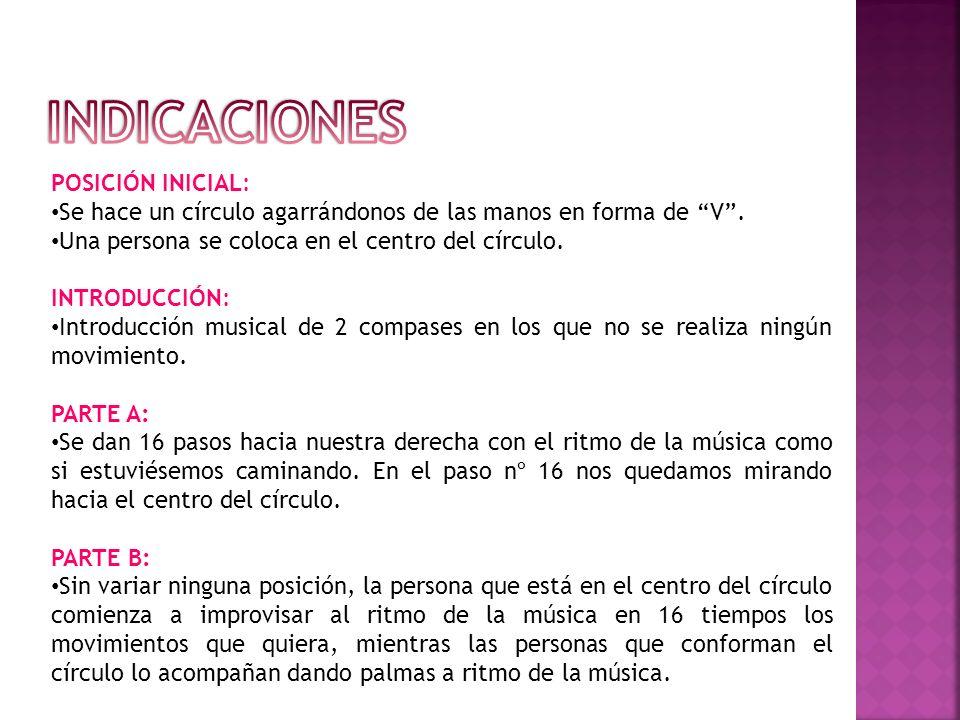 INDICACIONES POSICIÓN INICIAL: