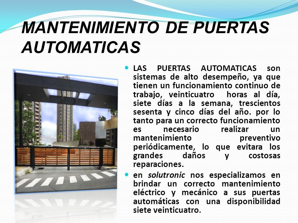 MANTENIMIENTO DE PUERTAS AUTOMATICAS