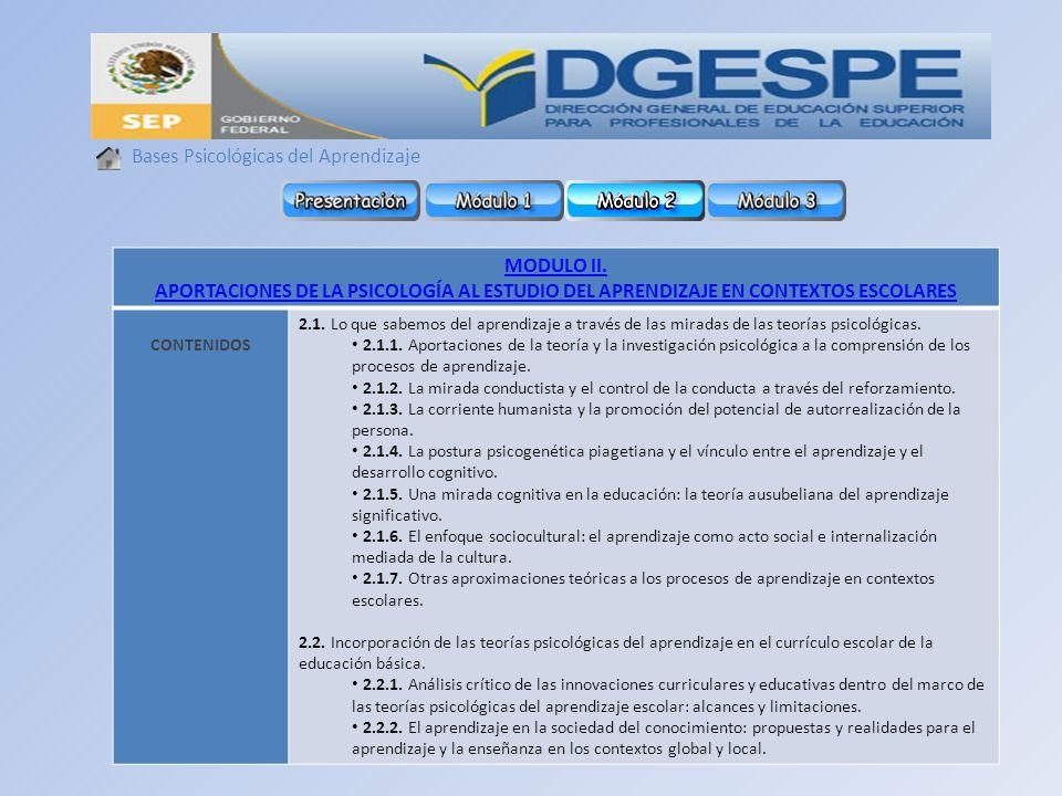 Bases Psicológicas del Aprendizaje MODULO II.