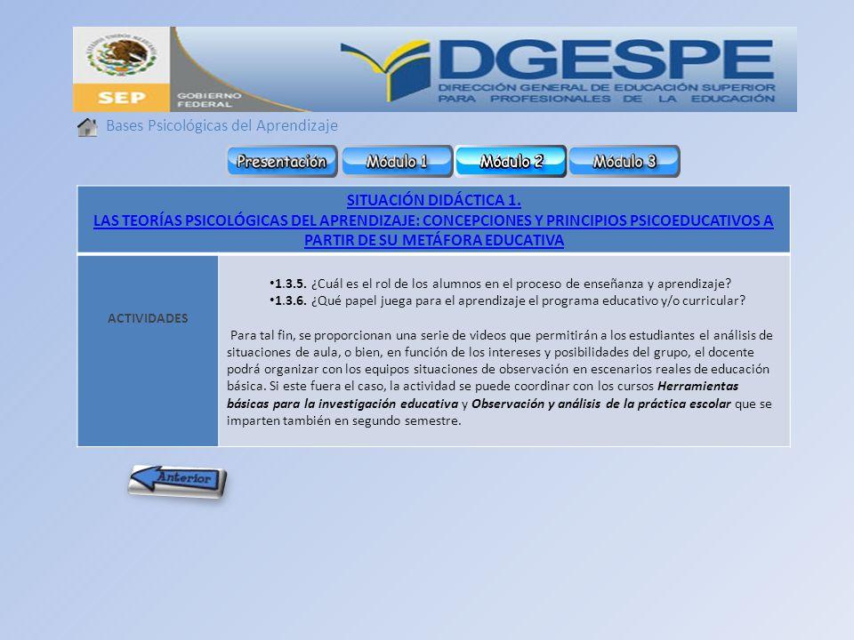 Bases Psicológicas del Aprendizaje SITUACIÓN DIDÁCTICA 1.