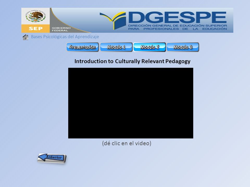 Introduction to Culturally Relevant Pedagogy