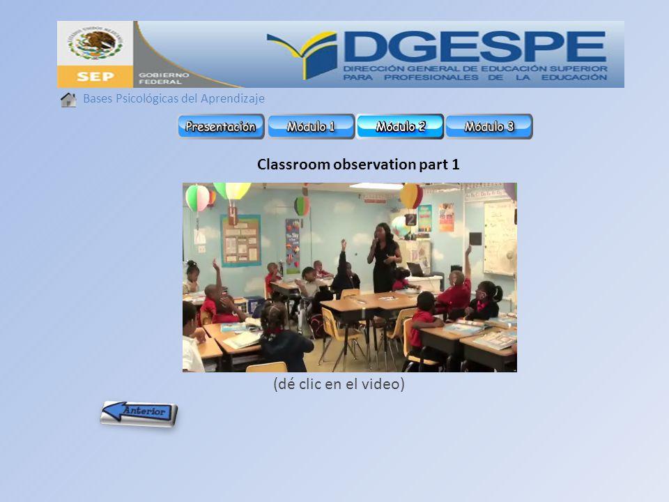 Classroom observation part 1