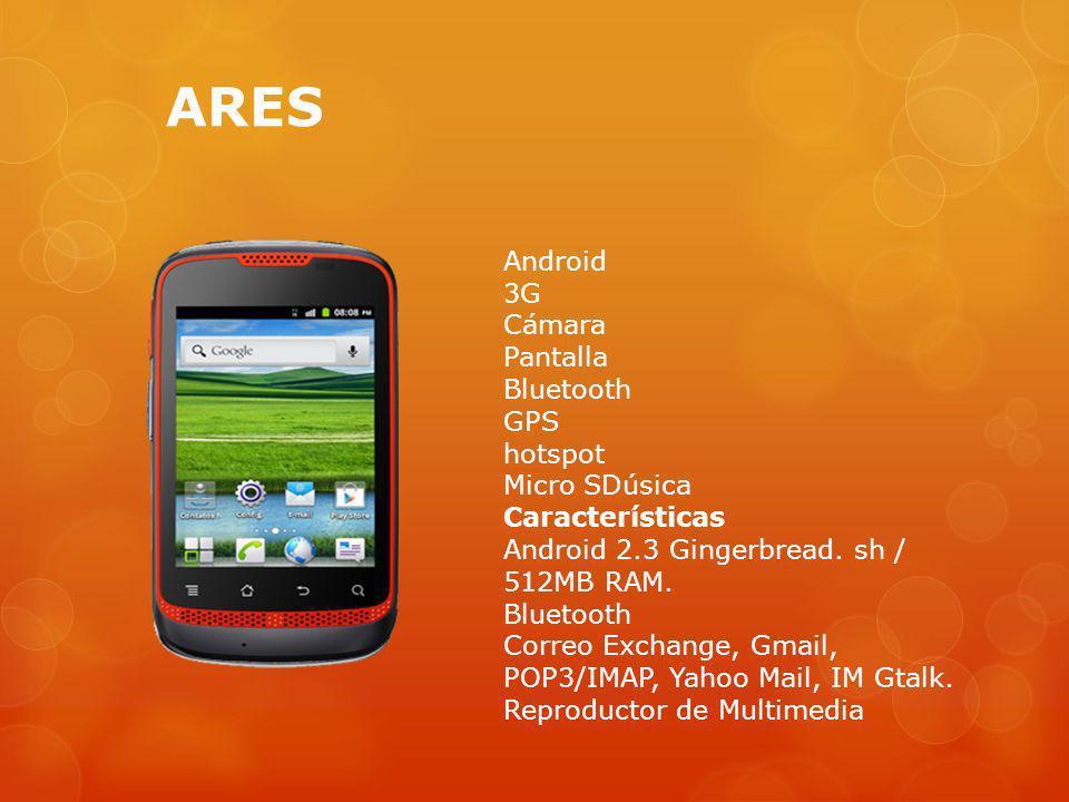 ARES Android 3G Cámara Pantalla Bluetooth GPS hotspot Micro SDúsica