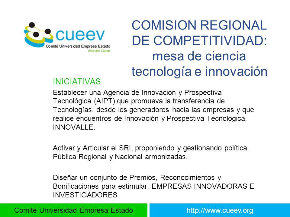 COMISION REGIONAL DE COMPETITIVIDAD: mesa de ciencia tecnología e innovación