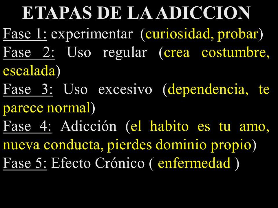 ETAPAS DE LA ADICCION Fase 1: experimentar (curiosidad, probar)