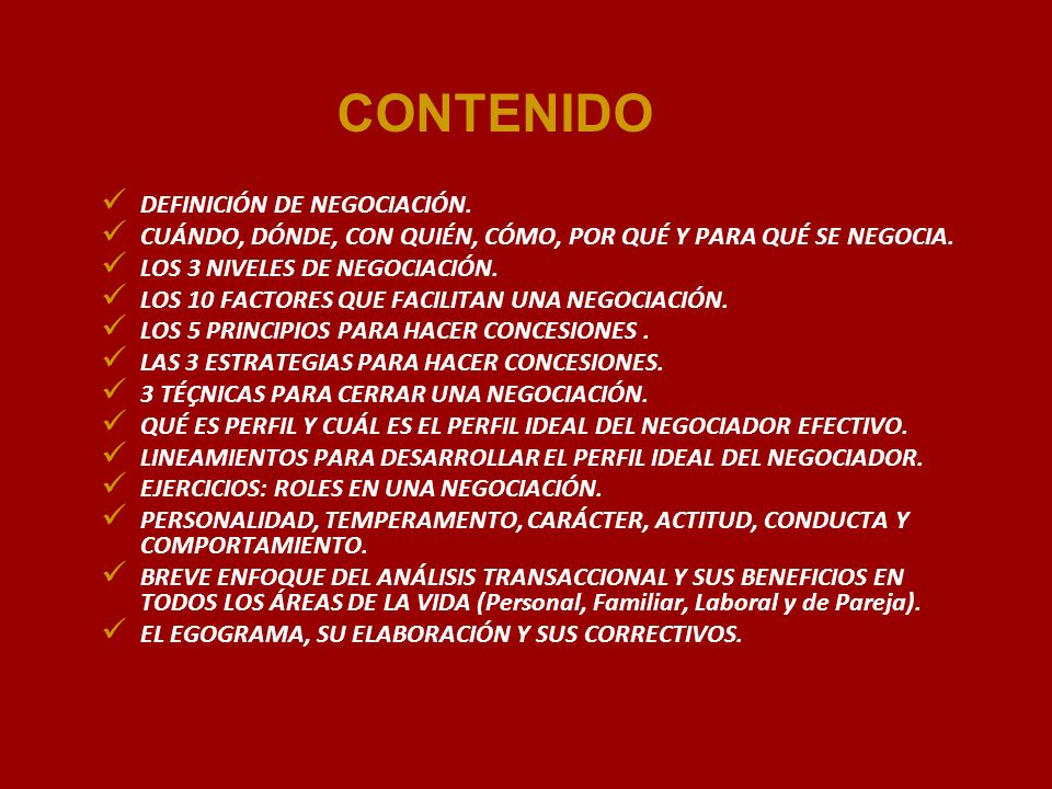 CONTENIDO DEFINICIÓN DE NEGOCIACIÓN.