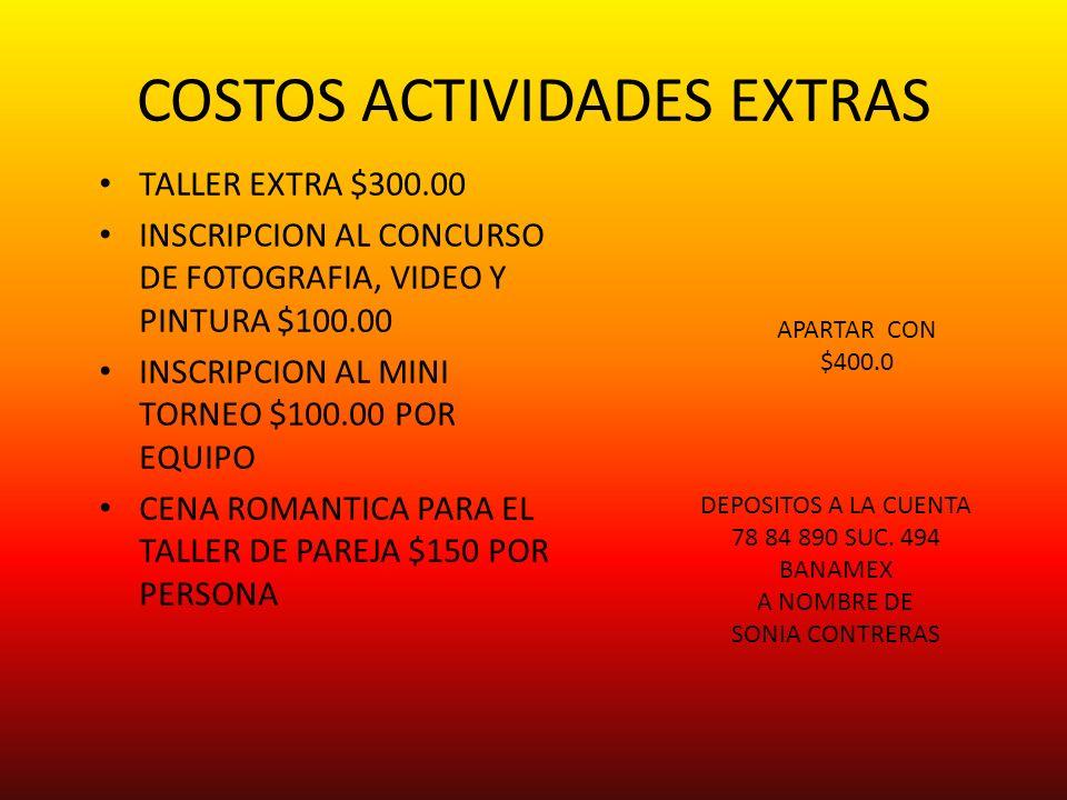 COSTOS ACTIVIDADES EXTRAS