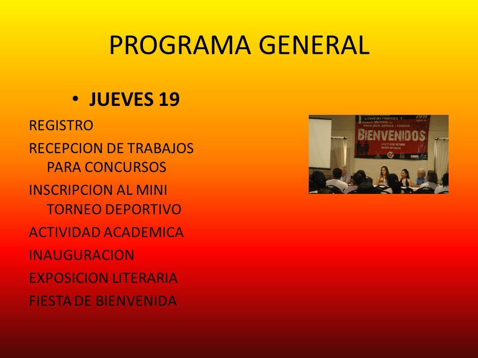 PROGRAMA GENERAL JUEVES 19 REGISTRO
